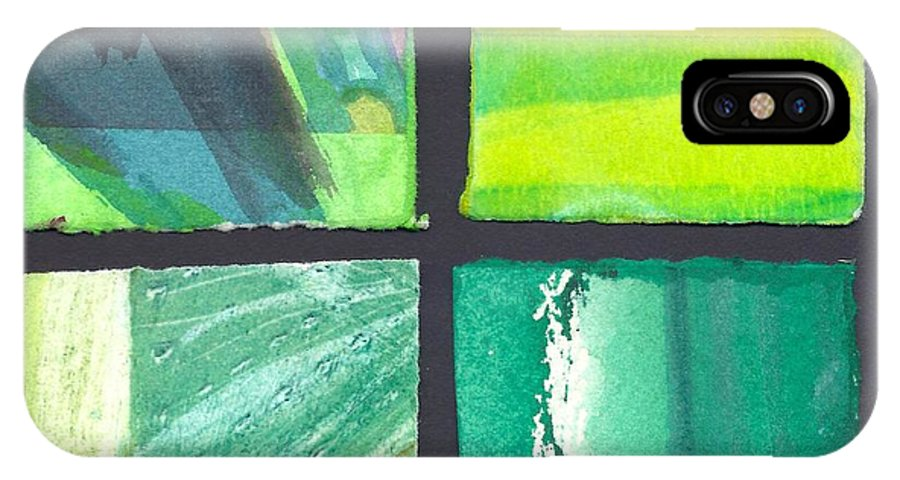 Abstract IPhone X / XS Case featuring the painting Four Squares Green, Yellow Green, Black by Cynthia Conklin