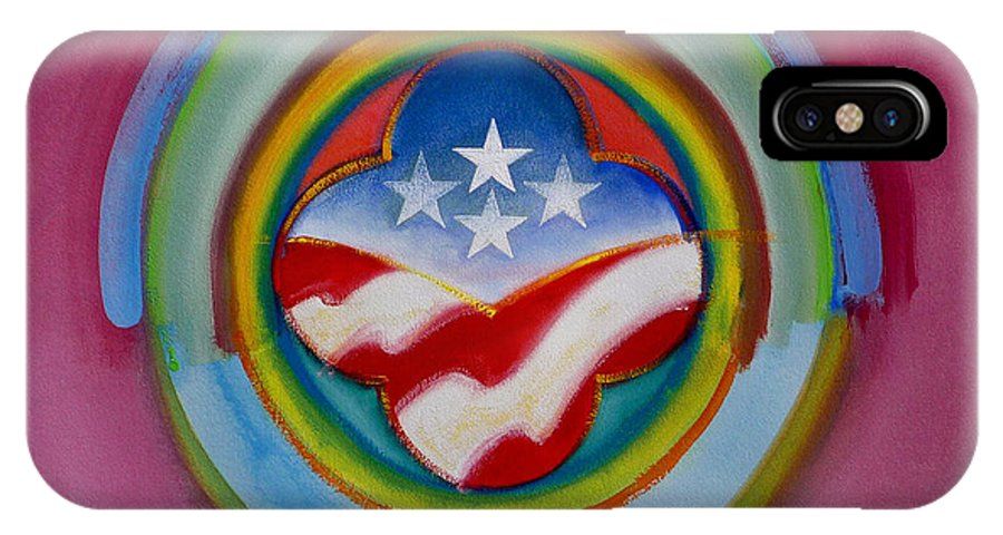 Button IPhone X Case featuring the painting Four Star Button by Charles Stuart