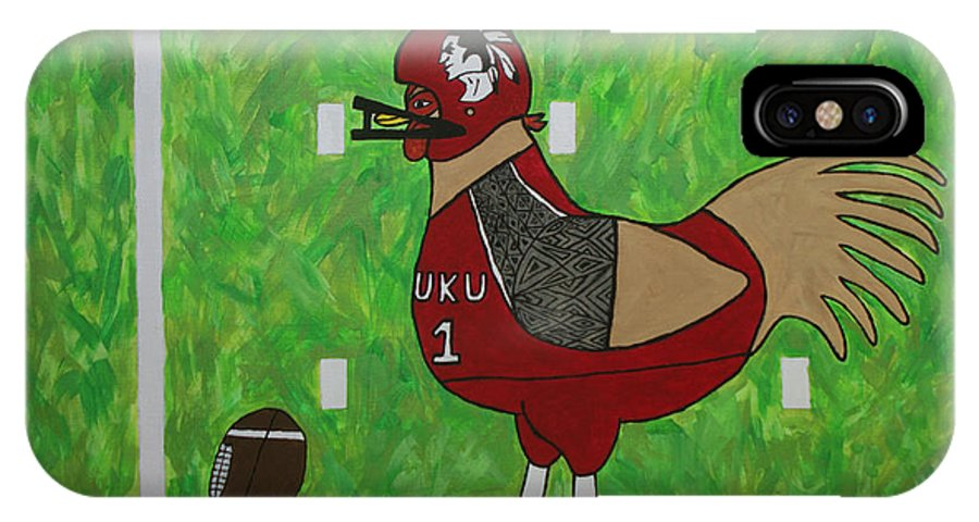 Football IPhone X Case featuring the painting Fourth And Goal by Tami Maldonado