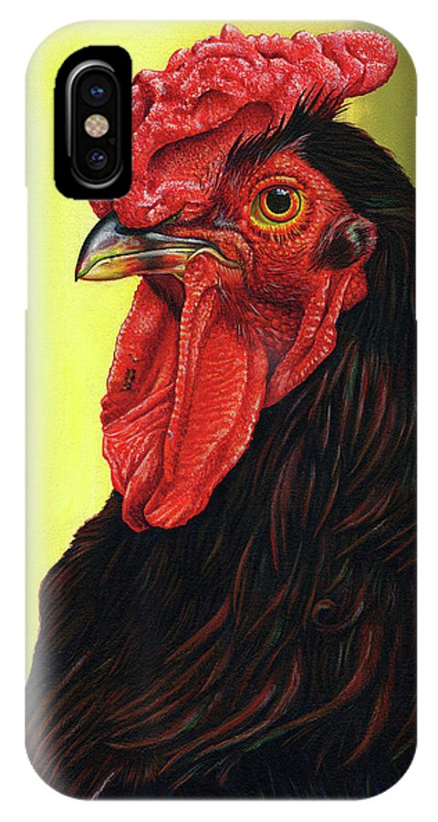 Rhode IPhone X Case featuring the painting Fowl Emperor by Cara Bevan