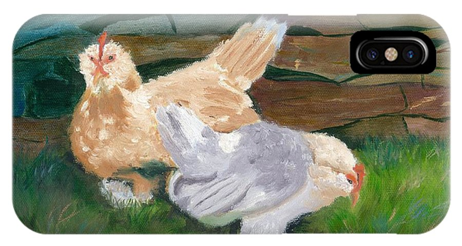 Chickens Bantams Countryside Stonewall Farm IPhone Case featuring the painting Fowl Play by Paula Emery