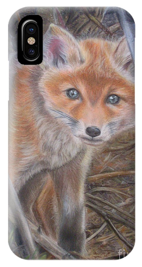 Animal IPhone X Case featuring the painting Fox Cub by Irisha Golovnina