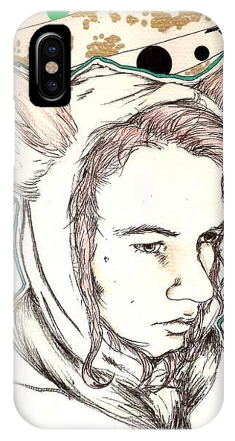 Ears Fow Star Boy Portrait Red IPhone X Case featuring the drawing Fox by Freja Friborg