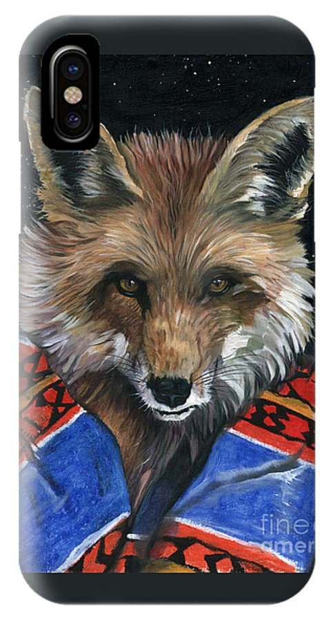 Fox IPhone X Case featuring the painting Fox Medicine by J W Baker