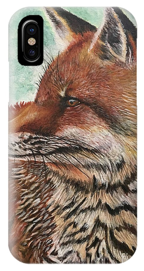 Fox IPhone X Case featuring the painting Fox by Monica Aguilar