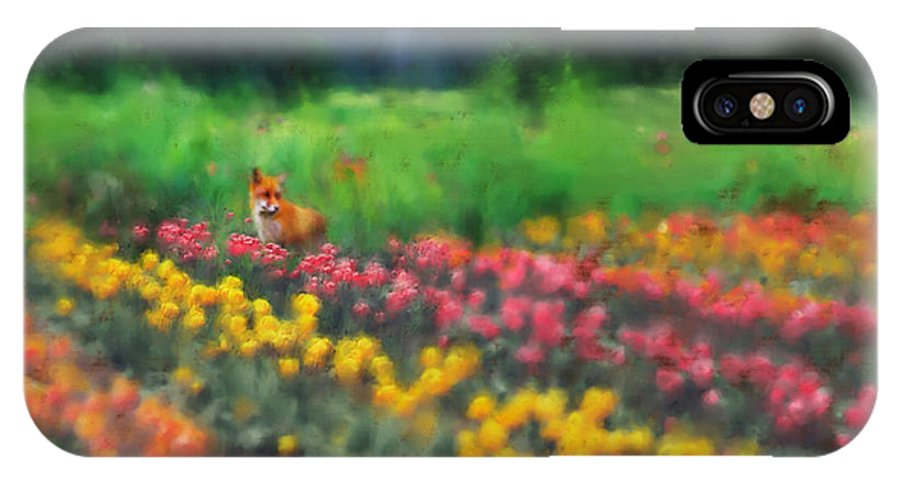 Fox IPhone X Case featuring the digital art Fox Watching The Tulips by Stephen Lucas