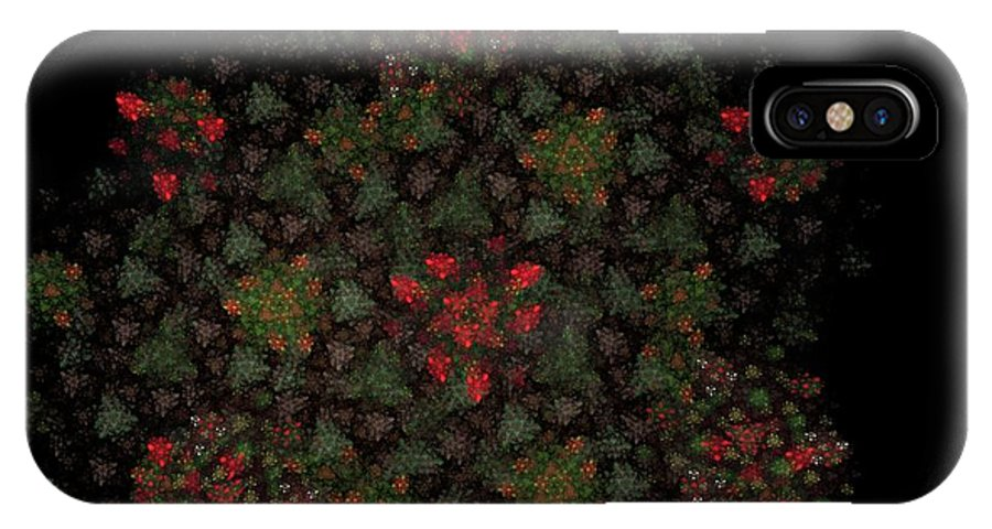 Fantasy IPhone X Case featuring the digital art Fractal Christmasbouquet by David Lane