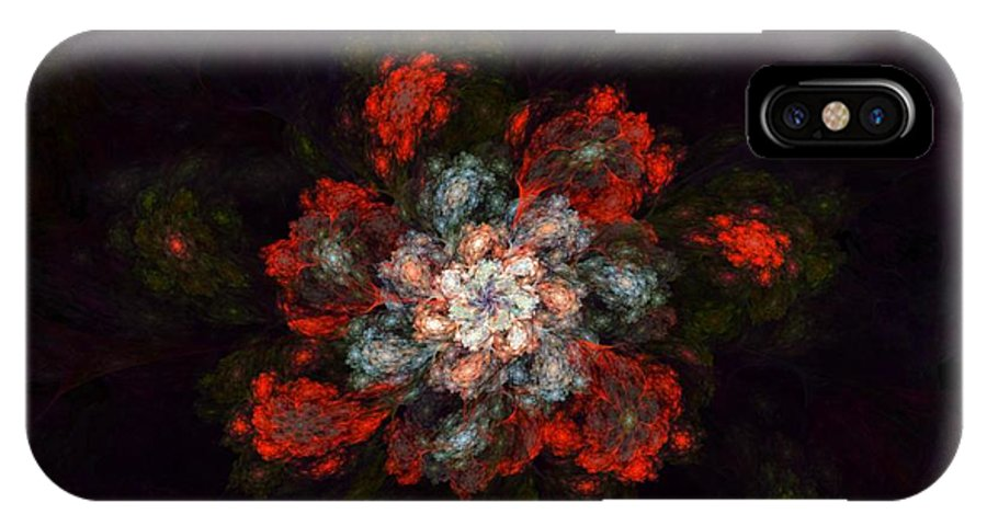 Digital Painting IPhone X Case featuring the digital art Fractal Floral 02-12-10-a by David Lane