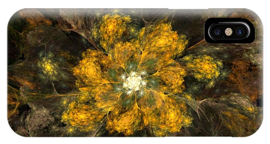 Digital Painting IPhone X Case featuring the digital art Fractal Floral 02-12-10 by David Lane
