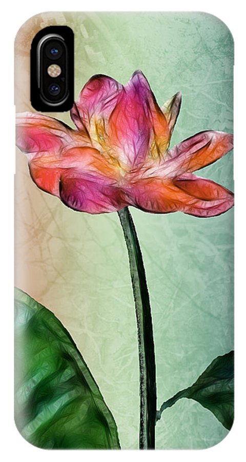 Flower IPhone X Case featuring the digital art Fractal Flower by Arline Wagner