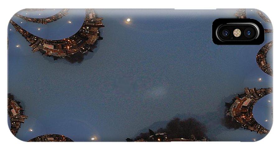 Moon IPhone X Case featuring the digital art Fractal Moon by Tim Allen