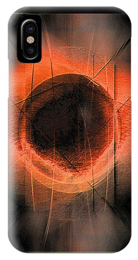 Abstract IPhone X Case featuring the digital art Fracture by John Krakora