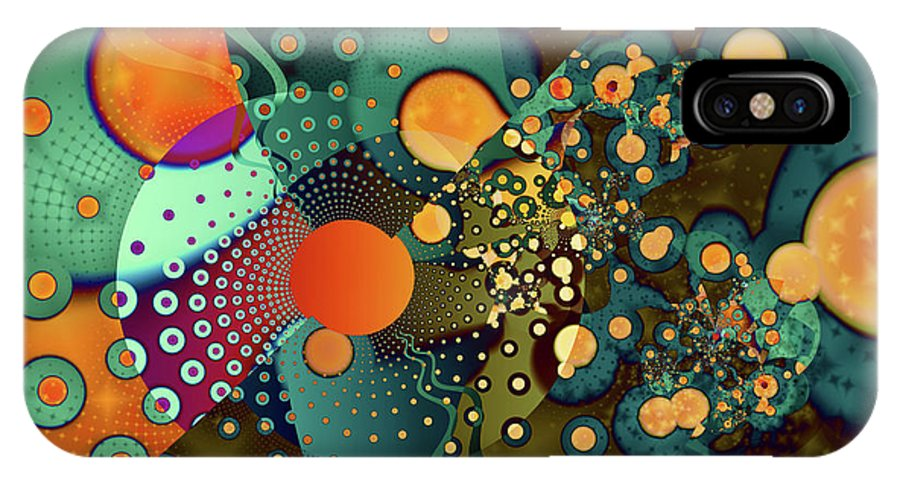 Abstract IPhone X Case featuring the digital art Fragmentation by Frederic Durville