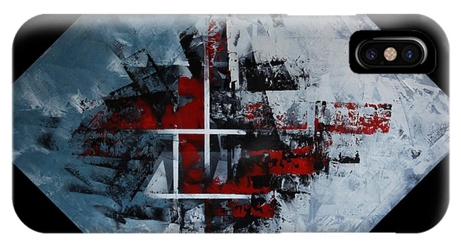 Abstract IPhone X / XS Case featuring the painting Frammenti In Rosso E Nero by Massimo Onnis