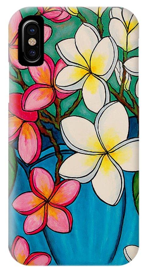 Frangipani IPhone X / XS Case featuring the painting Frangipani Sawadee by Lisa Lorenz