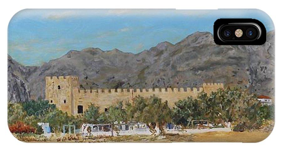 Frangokastello IPhone X / XS Case featuring the painting Frangokastello Castle - Southern Crete by David Capon