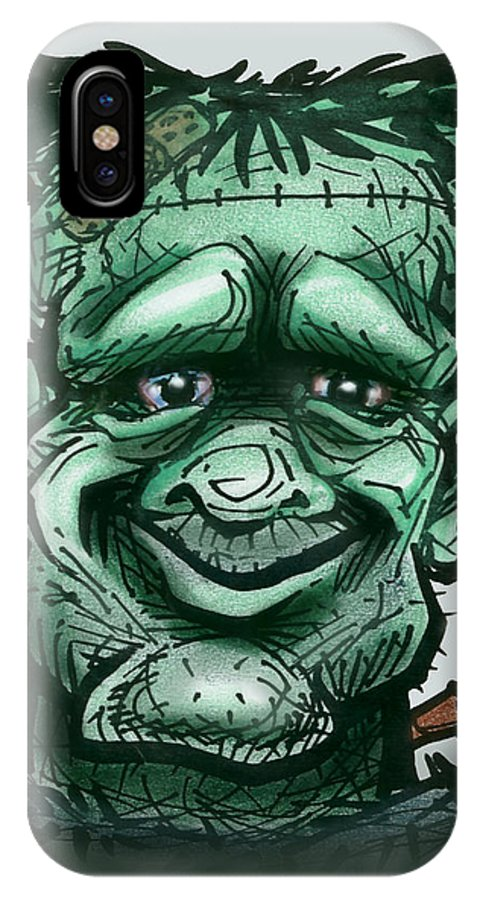 Frankenstein IPhone X Case featuring the greeting card Frankenstein by Kevin Middleton