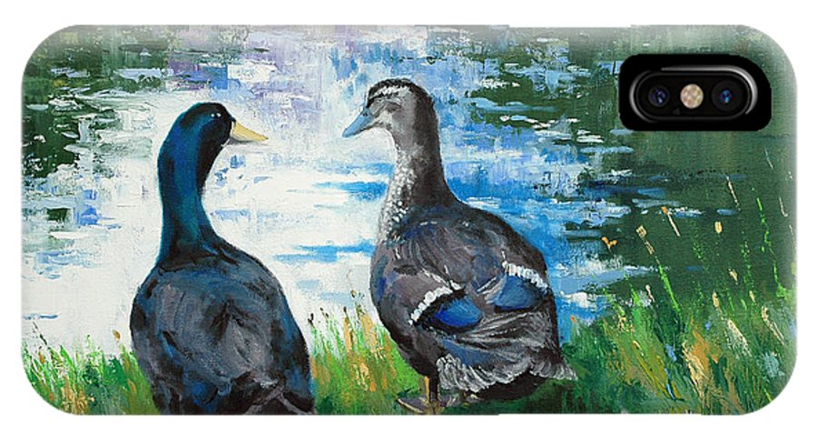 Ducks IPhone X Case featuring the painting Fred And Ethel At Scott's Pond by Glenn Secrest