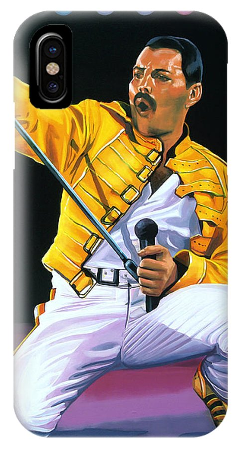 Freddie Mercury IPhone X Case featuring the painting Freddie Mercury Live by Paul Meijering