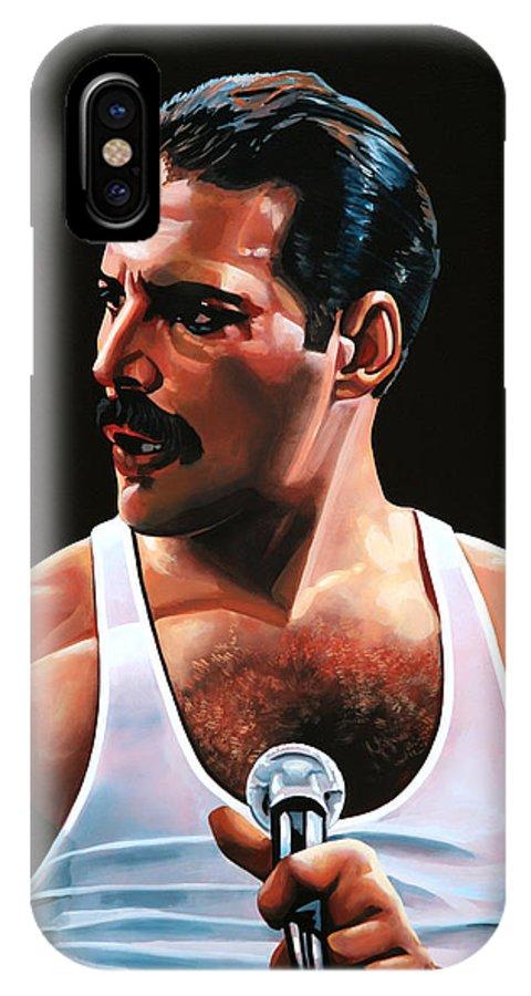 Freddie Mercury IPhone X Case featuring the painting Freddie Mercury by Paul Meijering