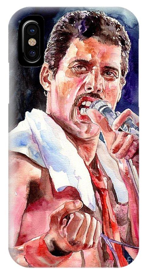 Freddie IPhone X Case featuring the painting Freddie Mercury Singing by Suzann Sines
