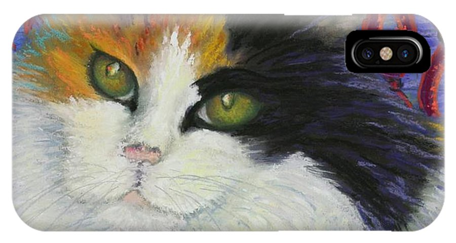 Cat IPhone X Case featuring the painting Fred's Cat by Minaz Jantz