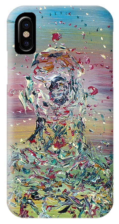 Abstract IPhone X Case featuring the painting Free Improvisation #4 -saint- by Fabrizio Cassetta