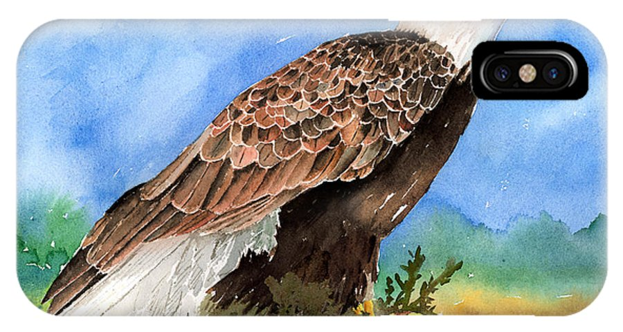 Eagle IPhone X Case featuring the painting Freedom by Arline Wagner
