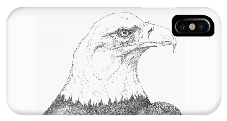 Eagle IPhone X Case featuring the drawing Freedom by Debra Sandstrom