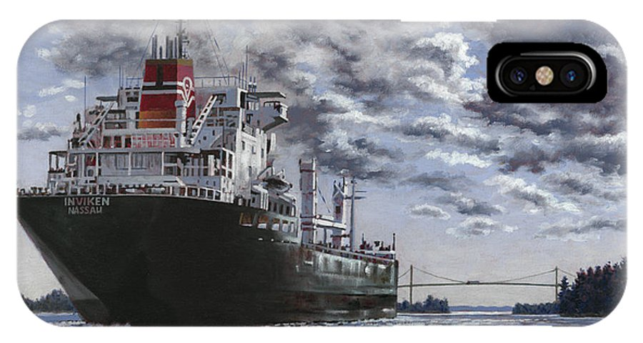 Freighter IPhone X Case featuring the painting Freighter Inviken by Richard De Wolfe