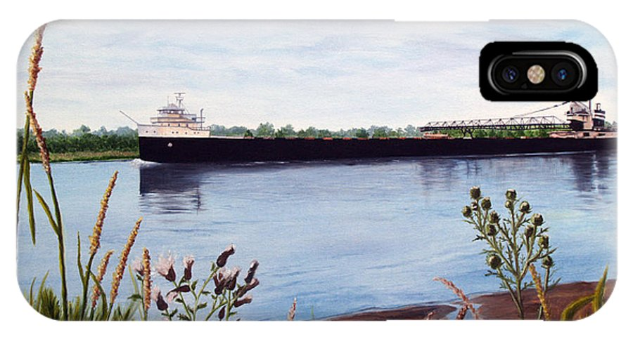 Freighter IPhone X Case featuring the painting Freighter by Vicky Path