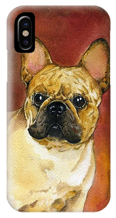 French Bulldog IPhone X Case featuring the painting French Bulldog by Kathleen Sepulveda