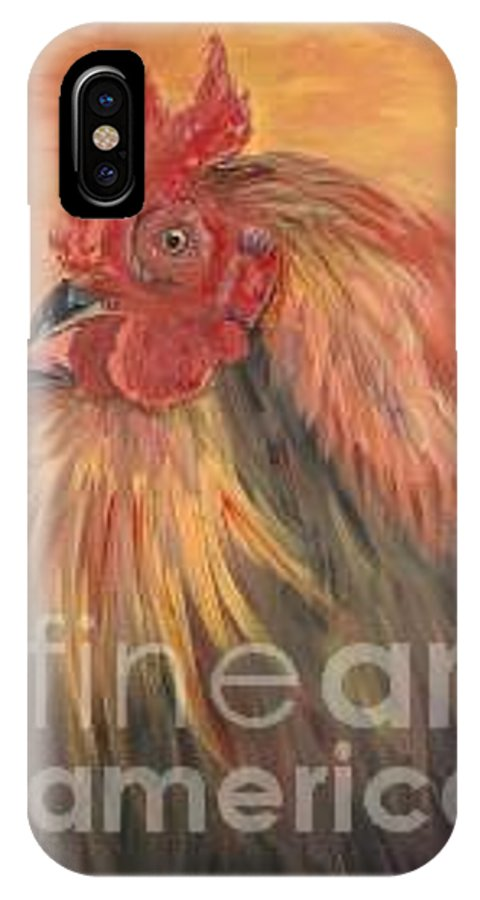 Rooster IPhone X Case featuring the painting French Country Rooster by Nadine Rippelmeyer