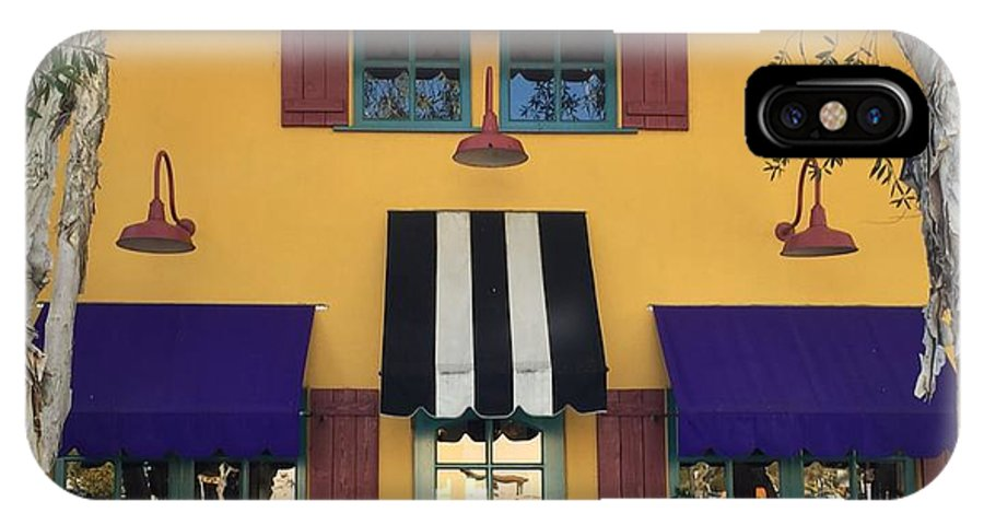 Mustard Yellow Blk/white Purple Trees Aquq Awning Planter Boxes IPhone X Case featuring the photograph French Delectables by Peggy Stokes
