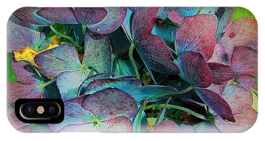 Hydrangea IPhone X Case featuring the painting French Hydrangea Rainbow by RC DeWinter