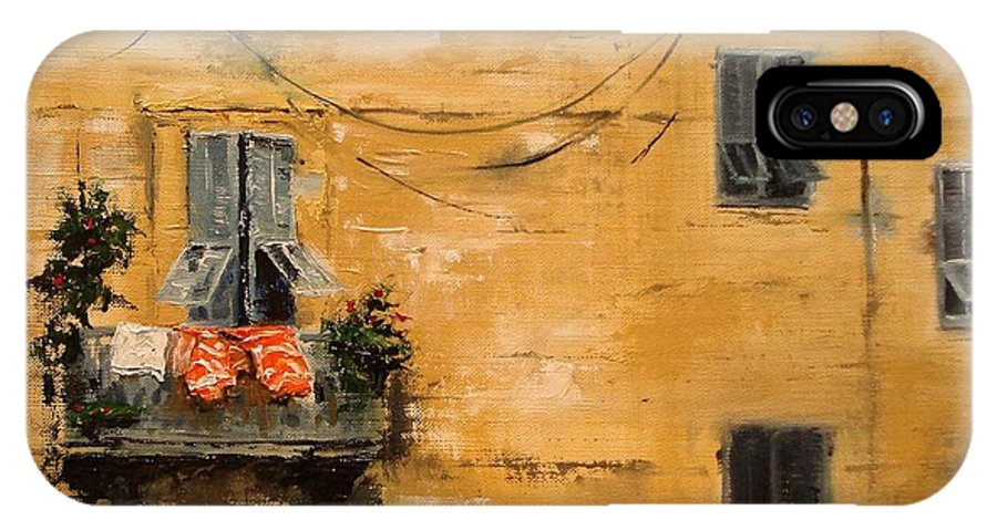 French IPhone X Case featuring the painting French Laundry by Barbara Andolsek
