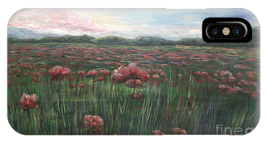France IPhone X Case featuring the painting French Poppies by Nadine Rippelmeyer