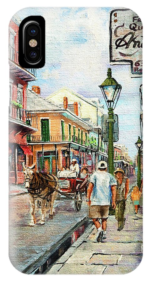 Royal Street IPhone X Case featuring the painting French Quarter Antiques by Dianne Parks
