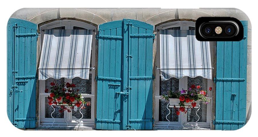 Arles IPhone X Case featuring the digital art Shuttered Windows And Flowers by Matt Oaks
