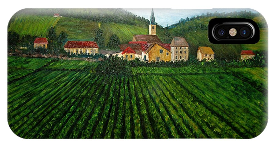 Acrylic IPhone Case featuring the painting French Village In The Vineyards by Nancy Mueller