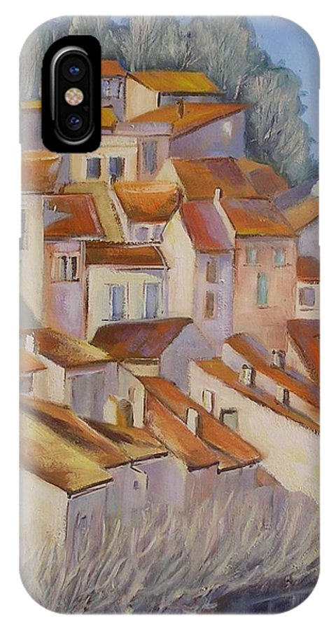 Rural Painting IPhone X Case featuring the painting French Villlage Painting by Chris Hobel
