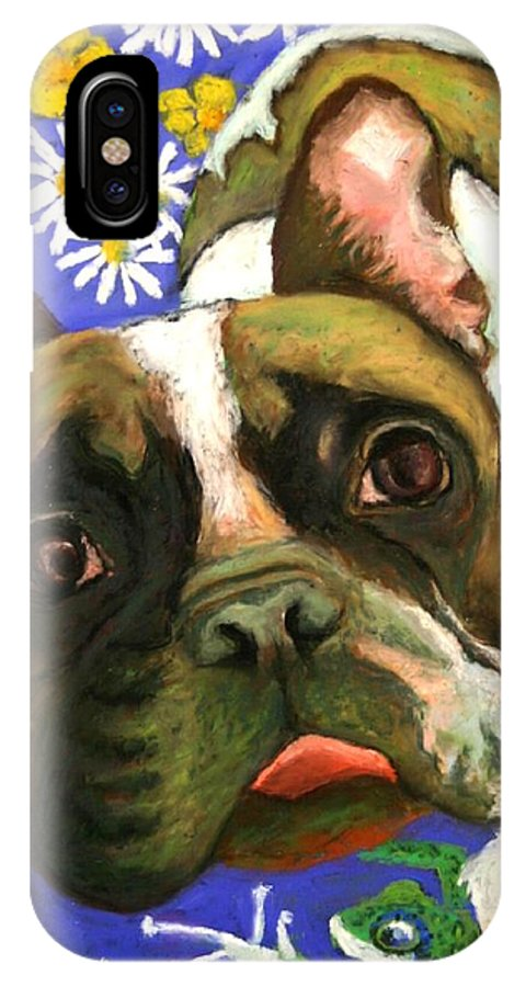 Pet Portrait IPhone X Case featuring the painting Frenchie Plays with Frogs by Minaz Jantz