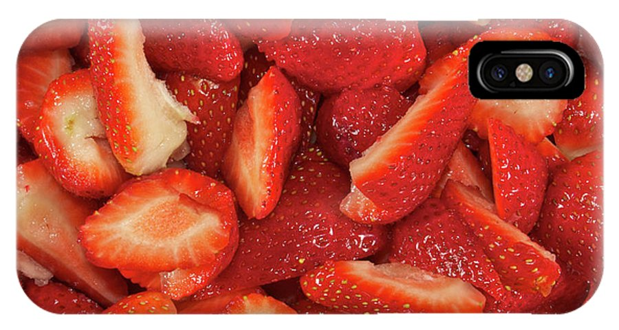 Fruit IPhone X Case featuring the photograph Fresh Cut Strawberries by Michael Peychich