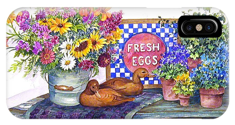 Watercolor;ducks;decoys;floral;mixed Bouquet;potted Plants;checkerboard;quilt; IPhone X Case featuring the painting Fresh Eggs by Lois Mountz