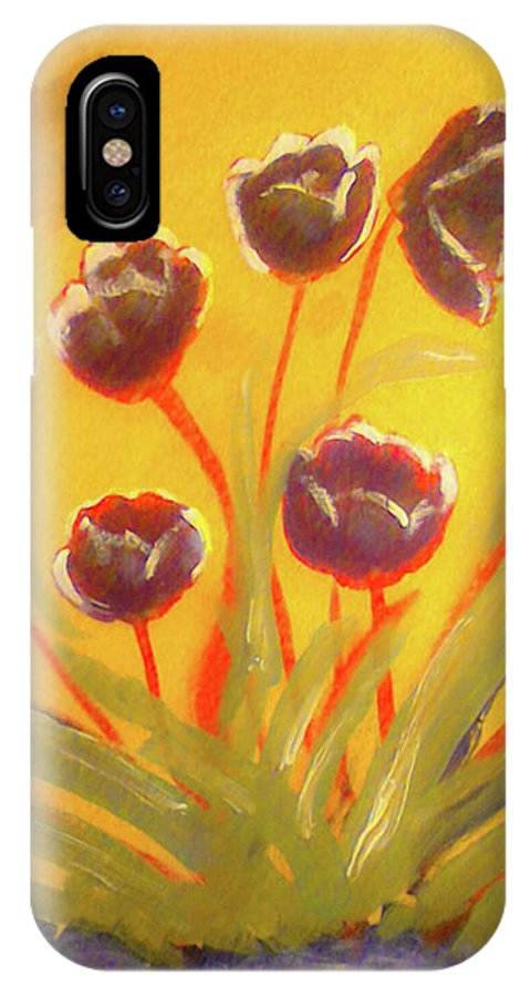 Floral IPhone X Case featuring the painting Fresh Flowers- 2nd In Series- The Dawn by Barbara Searcy