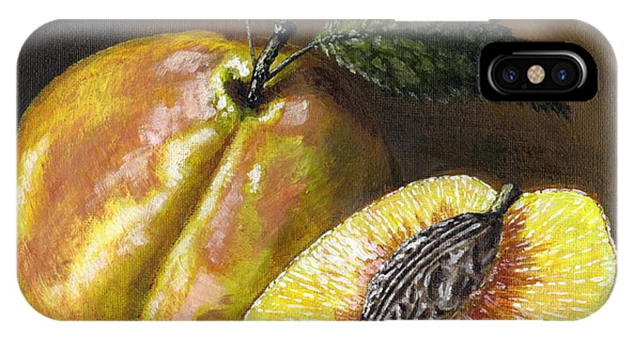 Acrylic IPhone X Case featuring the painting Fresh Peaches by Adam Zebediah Joseph