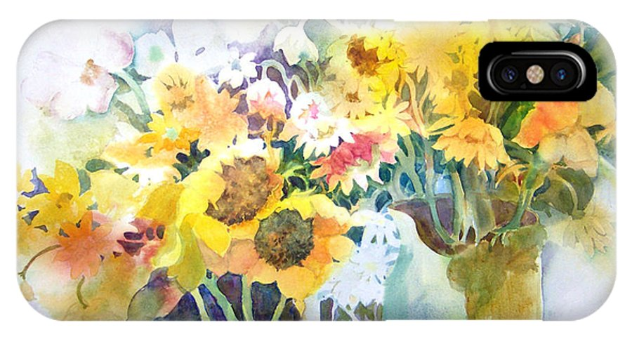 Contemporary;watercolor;sunflowers;daisies;floral; IPhone X Case featuring the painting Fresh-picked by Lois Mountz