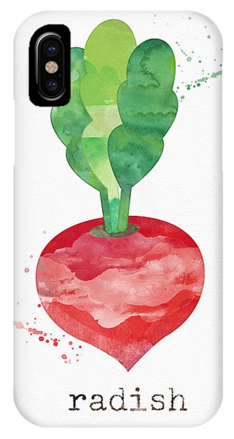 Radish IPhone X Case featuring the painting Fresh Radish by Linda Woods