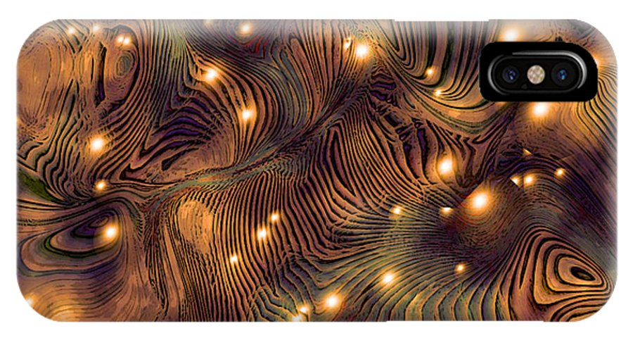 Abstract Digital Art Painting Brown Gold Freshwater Fish Lights Texture IPhone X Case featuring the painting Freshwater by Susan Epps Oliver