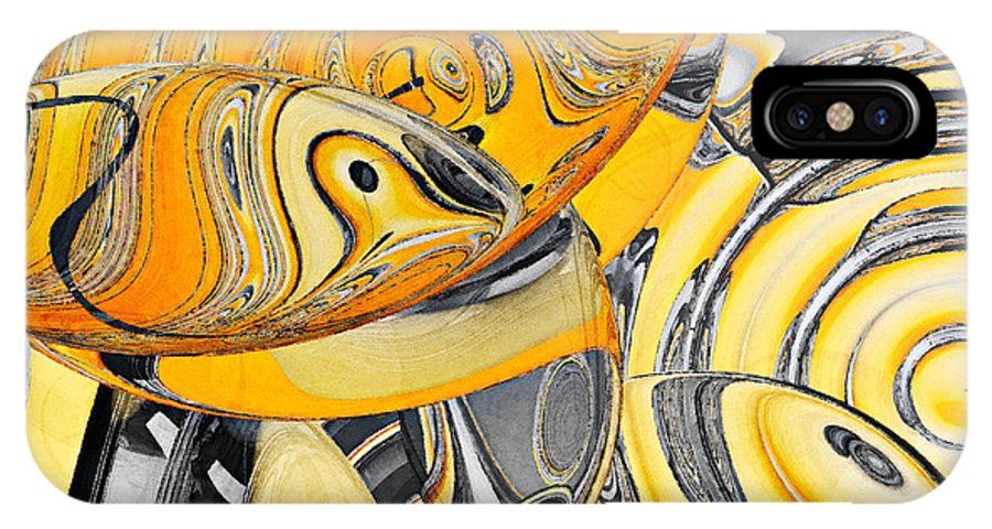 Abstract IPhone X Case featuring the painting Fresnelidelic by Peter J Sucy